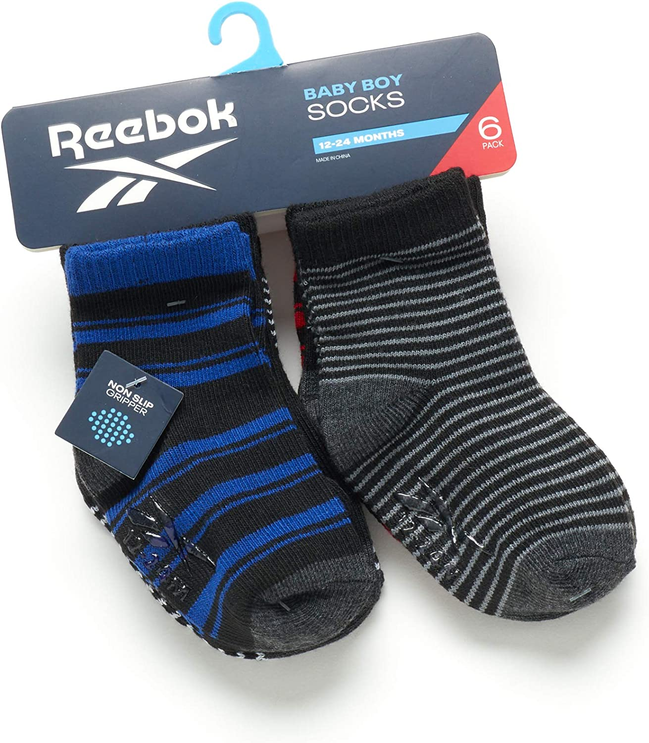 Reebok Baby Boys 6 Pack Quarter Cut Socks with Nonslip Traction Grip (Infant/Toddler)