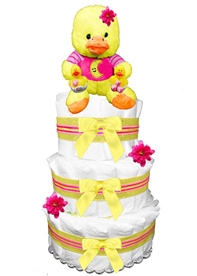 Amazon Ducky Diaper Cake For A Girl Baby Shower Centerpiece