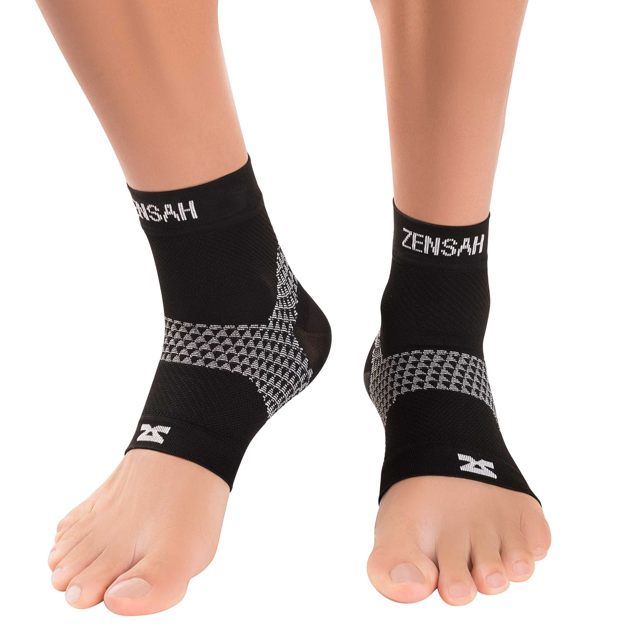 Zensah Plantar Fasciitis Sleeves (Pair) - Plantar Fasciitis Socks, Arch Support, Plantar Fasciitis Brace - Relieve Heel Pain, Arch Support, Small, Black