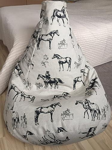 Terrific Black Horses Bean Bag Chair Natural Linen Beanbag Cover Eco Inzonedesignstudio Interior Chair Design Inzonedesignstudiocom