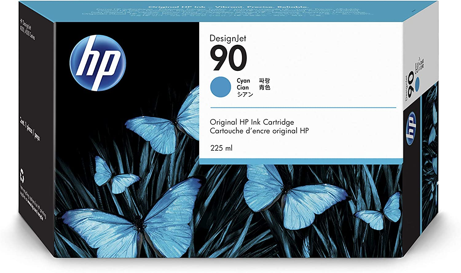 HP 90 Cyan 225-ml Genuine Ink Cartridge (C5060A) for DesignJet 4500 MFP, 4500 & 4000 Series Large Format Printers