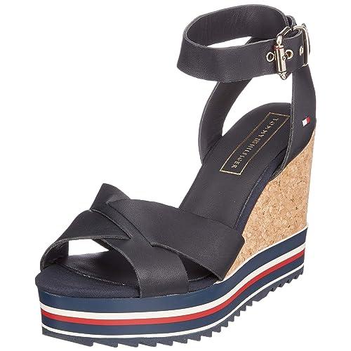 Tommy Hilfiger Colored Stripes Wedge Sandal Sandalias con Plataforma para Mujer Azul Midnight 403 37 EU