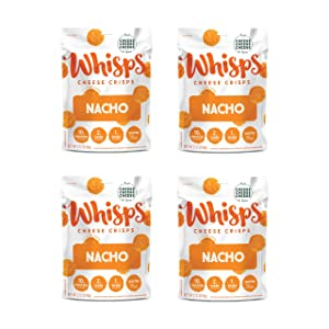 Whisps Nacho Cheddar Cheese Crisps | Back to School Snack, Keto Snack, Gluten Free, Low Sugar, Low Carb, High Protein | 2.12oz (4 Pack)