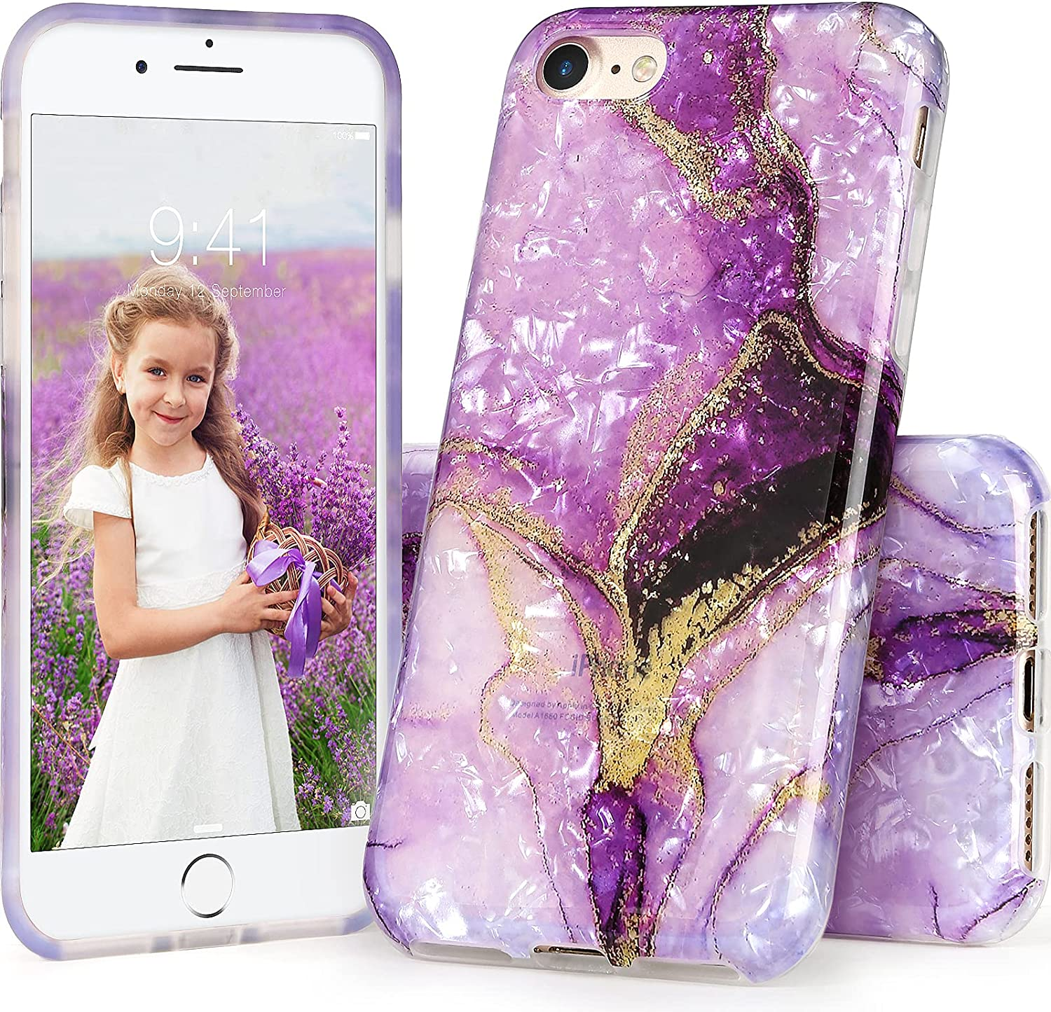 iPhone SE 2020 Case for Women, IDYStar White Translucent Sparkle Clear Cheeath Design Cover, Lightweight Soft Silicone Protective Durable Case for iPhone 6/6s/7/8/SE 2020, Purple Marble