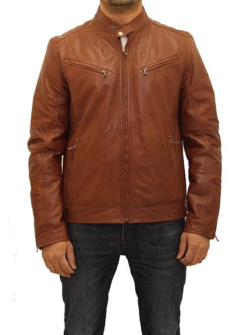 A to Z Leather Chaqueta sin Cuello de Cuero Italiana Elegante del Motorista de los Hombres: Amazon.es: Ropa y accesorios
