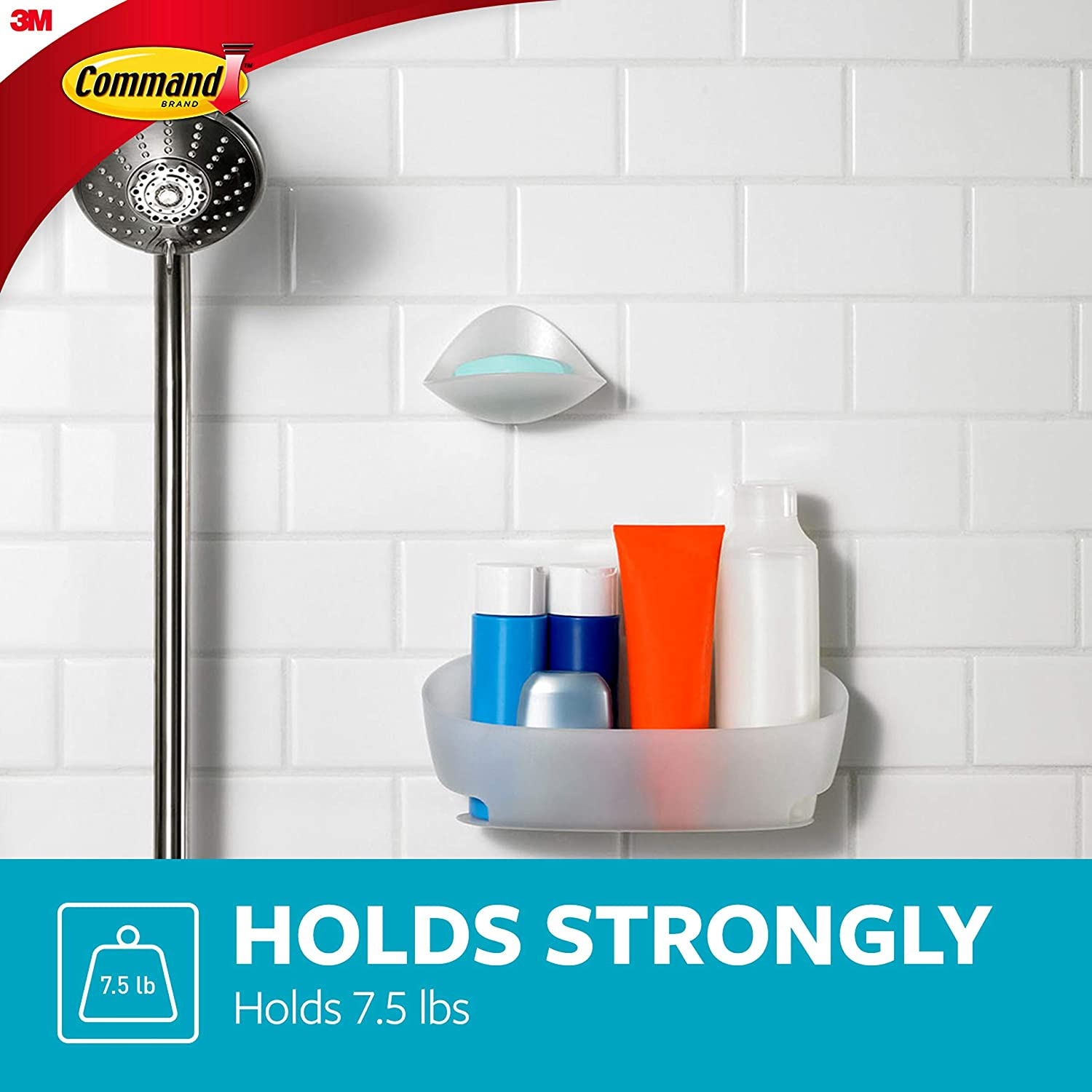 Command Shower Caddy with Water-Resistant Strips, Clear Frosted, 1 Caddy, 4 Strips (BATH11-ES), Organize your dorm: Home Improvement