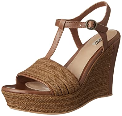UGG Women's Fitchie Rust Leather Sandal 9 B ...