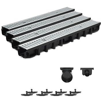 System A15 148mm inkl Zubeh/ör 1m Entw/ässerungsrinne Terrassenrinne Stahlrost verzinkt komplett SET