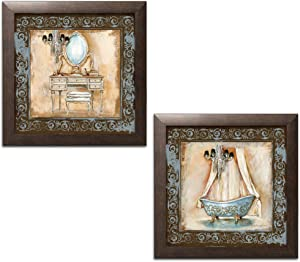 Elegant Brown and Blue Clawfoot Tub and Vanity Set; Bathroom Decor; Two 12x12in Brown Framed Prints, Ready to Hang!