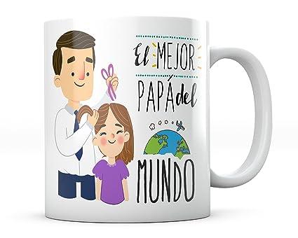 Taza El Mejor Papá Del Mundo Dibujo Niña Frase Día Del Padre