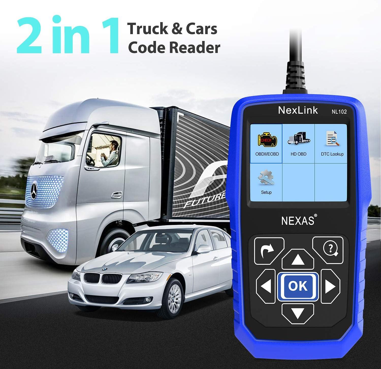 Heavy Duty Truck Scanner NL102 OBD//EOBD+HDOBD Diagnostic Scanner Scan Tools Engine ABS Transmission Check Trucks /& Cars 2 in 1 Codes Reader Upgrade Version