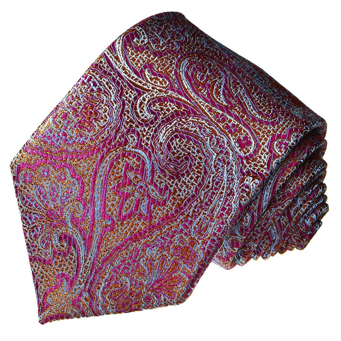 LORENZO CANA Luxury Italian 100/% Silk Tie Jacquard Woven Paisley Red 12028