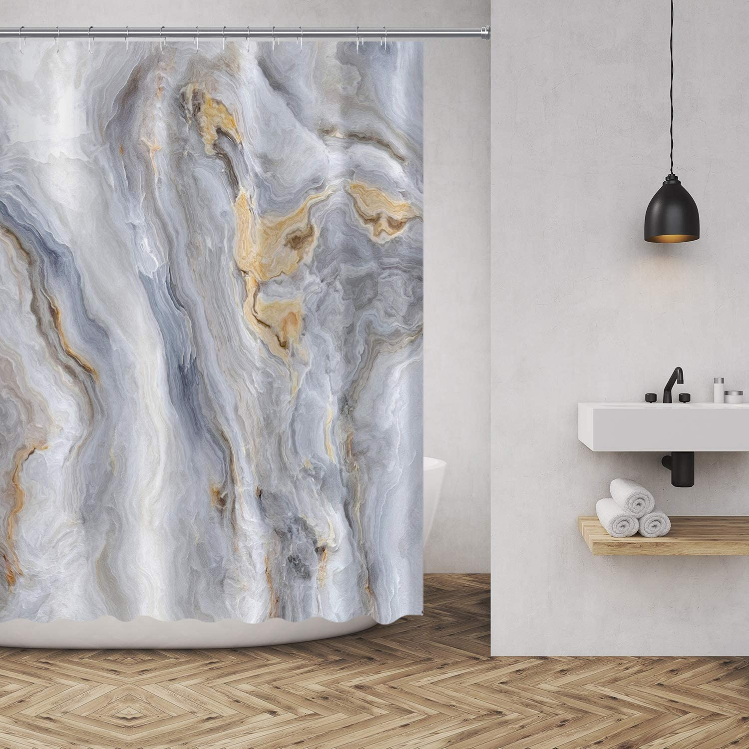 MuaToo Marble Shower Curtain Modern Abstract Art Decor Style Polyester Fabric Bathroom Decor Sets with Hooks 72 x72 Inches, Blue Gold Grey White