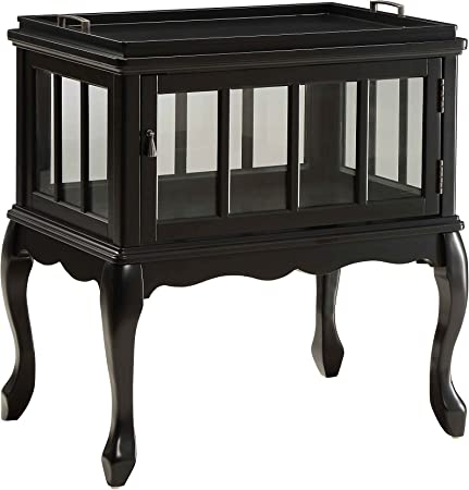Acme Fidelia Black Console Table With Tray Furniture Decor