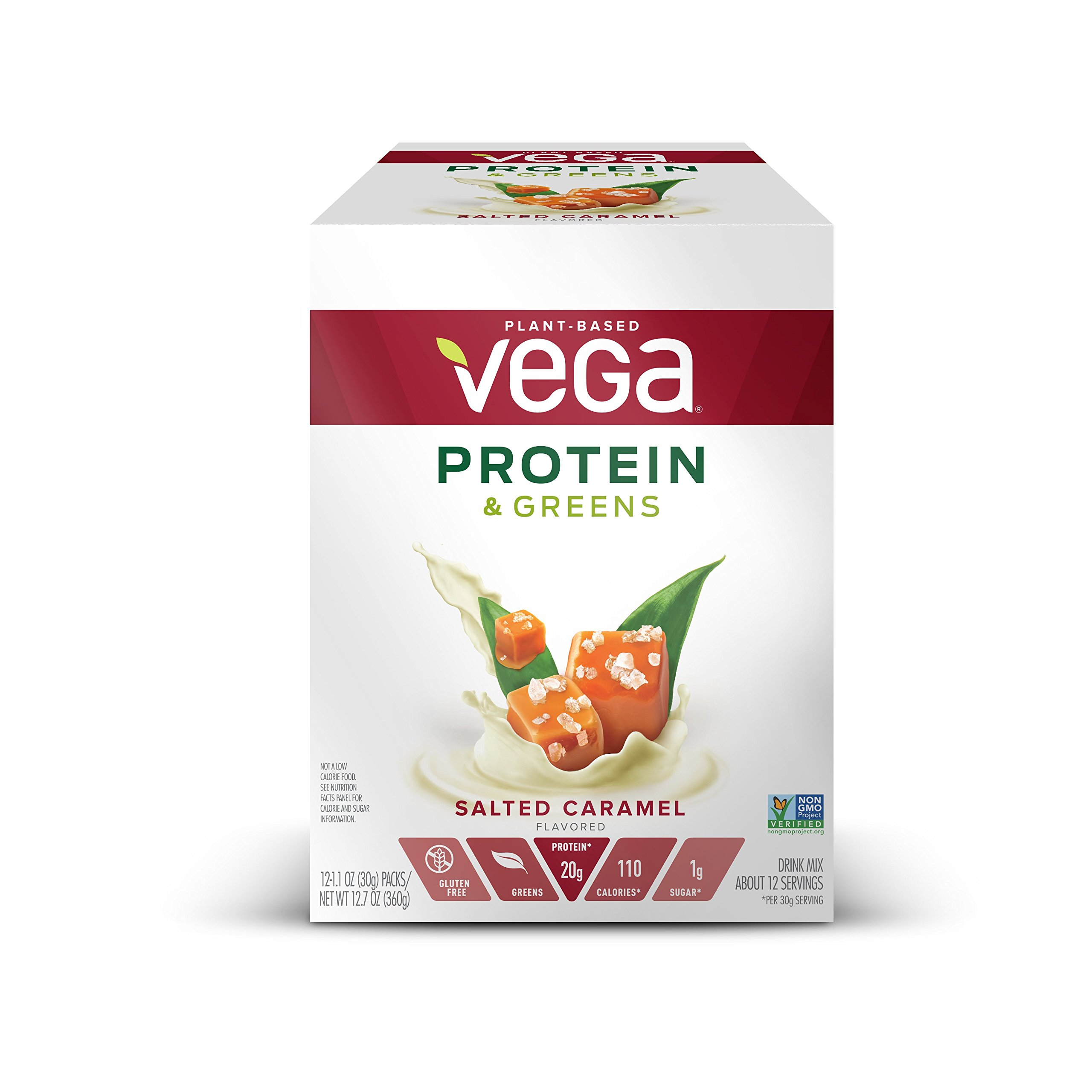 Vega Protein & Greens Plant Protein Shake, Salted Caramel, 12 Count