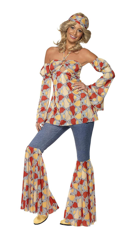 Smiffys Disfraz vintage de hippy de los años 70, Multicolor, con parte de arriba sin esp