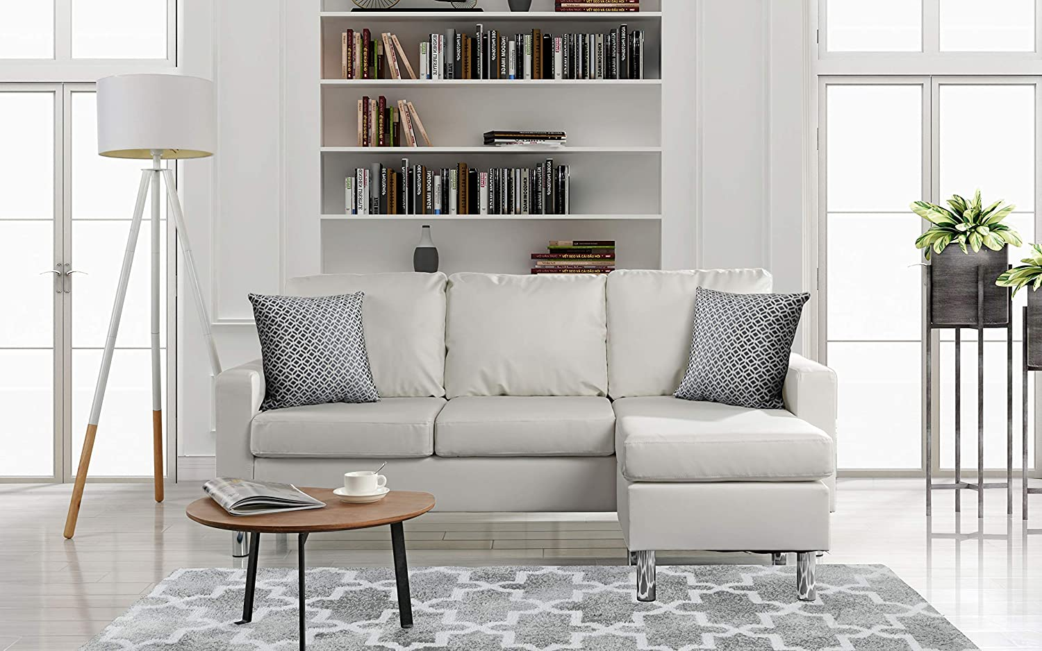 Strange Details About Modern Bonded Leather Sectional Sofa Small Space Configurable Couch White Machost Co Dining Chair Design Ideas Machostcouk