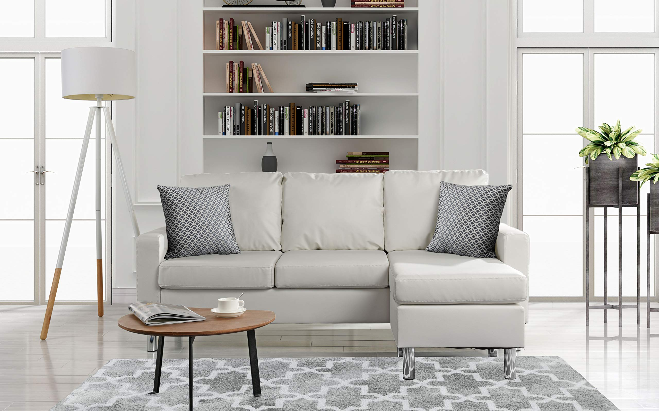 Modern Bonded Leather Sectional Sofa - Small Space Configurable Couch - White by DIVANO ROMA FURNITURE