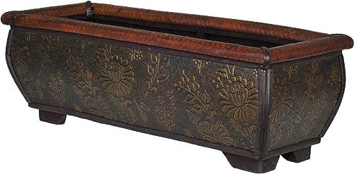 Rattan/Wood Shelf Planter 9307