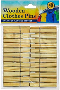 DecorRack Wooden Clothespins, Natural Wood Clothes Pegs, Arts and Craft Pins, Snack Clips, Indoor/Outdoor (Set of 48)