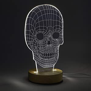 Amped & Co 3D Skull Illusion Light, Real Wood Base, Laser Etched Acrylic Design Appears 3 Dimensional, Desk Lamp Nightlight Room Decor, Includes USB Cable and Wall Plug