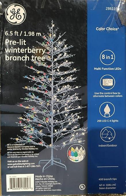 Ge Christmas Tree Lights.Amazon Com Ge 6 5 Foot Tall Winterberry Christmas Tree