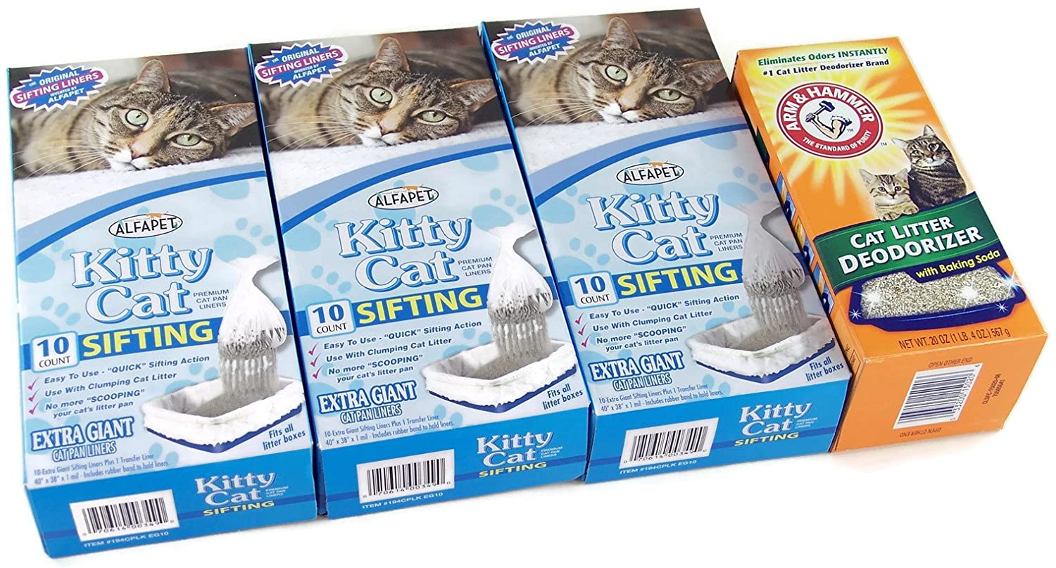 3 Boxes of Alfapet Kitty Cat Sifting Extra Giant Litter Box Liners 10 Per Box Plus 1 Transfer Liner Per Box and 1 of box Arm & Hammer Litter Deodorizer 20 oz. with Baking Soda (Bundle)