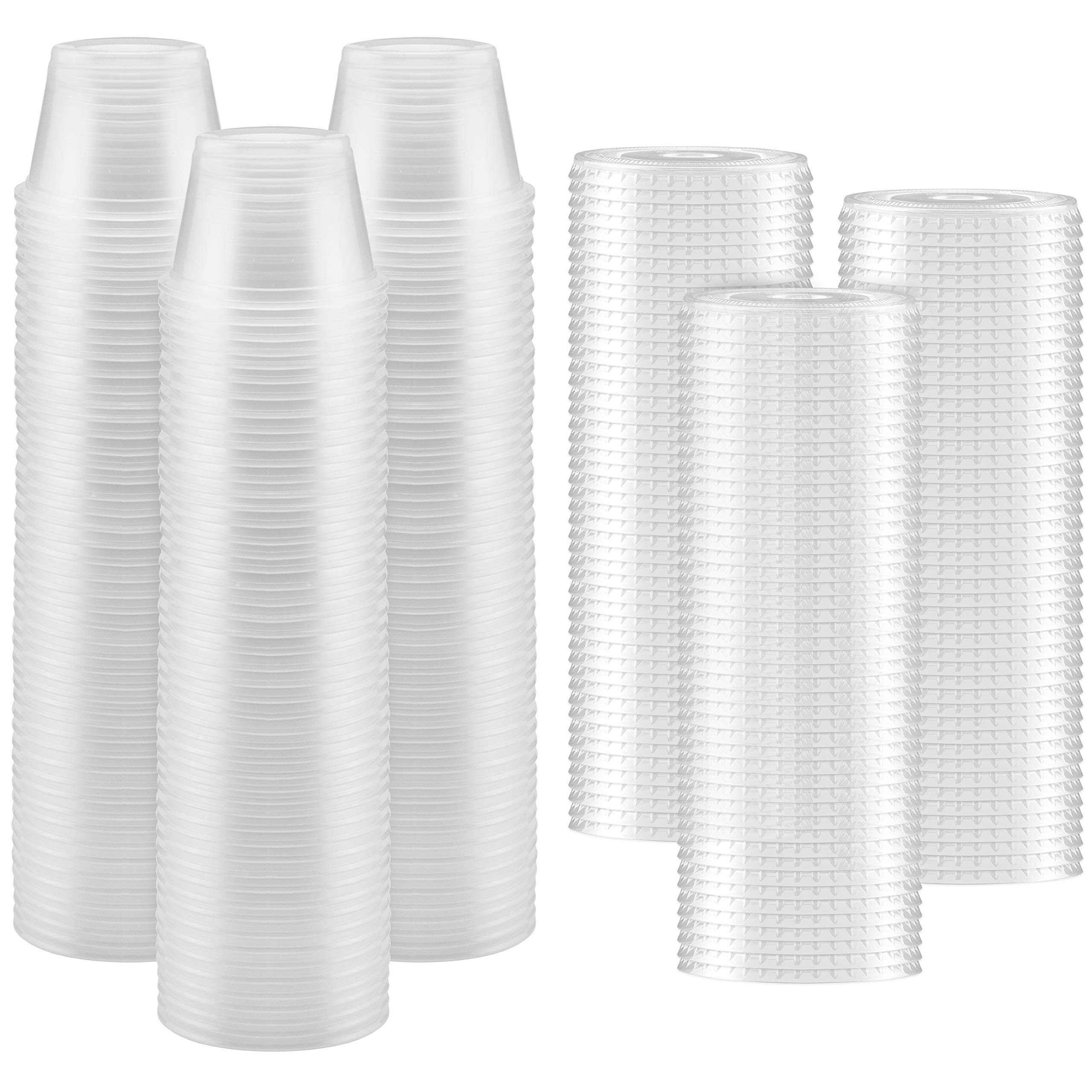 150-Pack of 4-oz Clear Plastic Jello Shot Cups Containers with Snap on Leak-Proof Lids -Small Shot Cups - Compact Food Storage Containers for Portion Control, Sauces, Spices, Liquid, Dips by NYHI