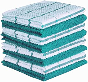 AMOUR INFINI Terry Dish Cloth | Set of 8 | 12 x 12 Inches | Super Soft and Absorbent |100% Cotton Dish Rags | Perfect for Household and Commercial Uses | Teal