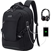 Tzowla Travel Laptop Backpack Water Resistant Business Backpack USB Charging Port Computer Backpack Men Women College School Bag Fit 16 inch Laptops… (Black)