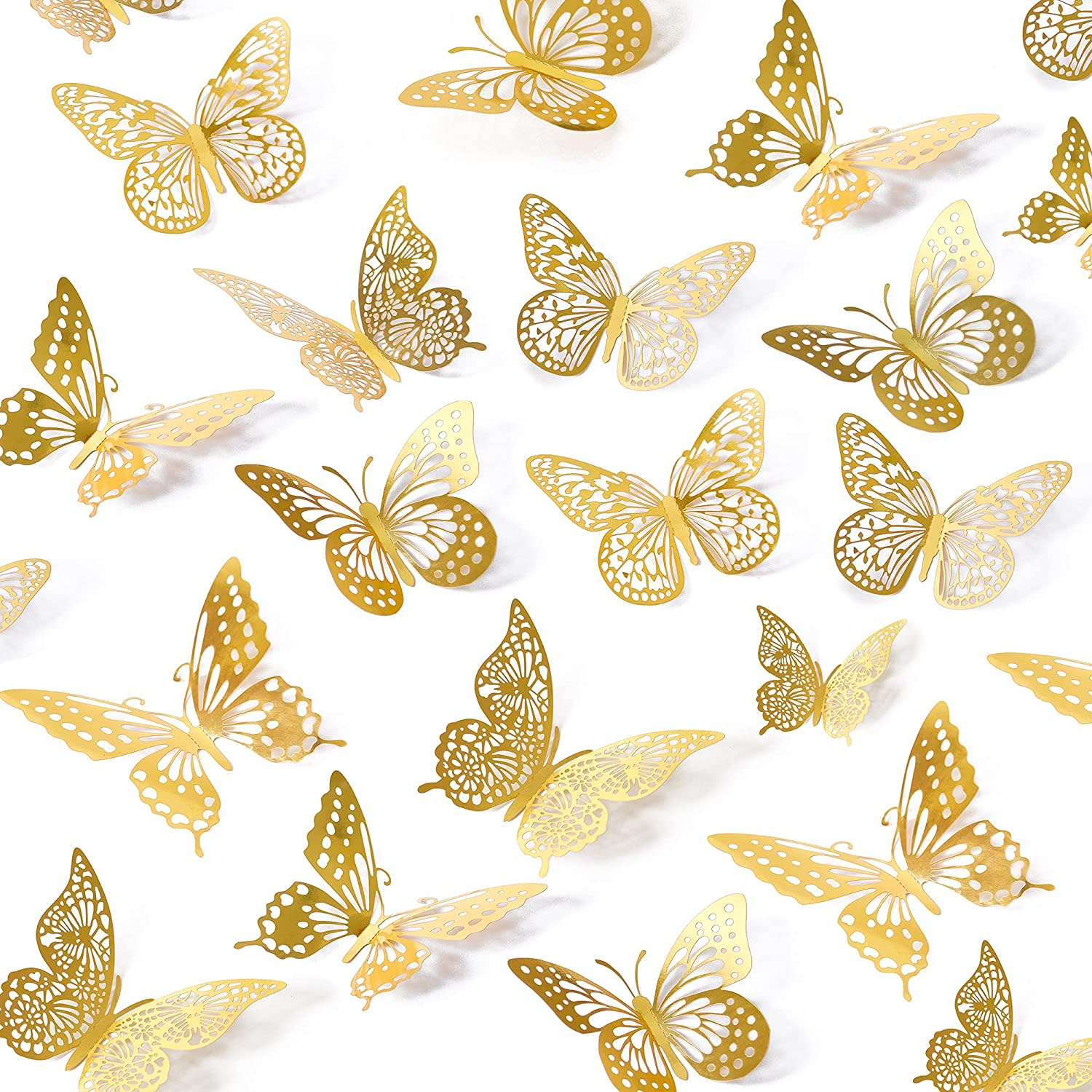 3D Butterfly Wall Stickers, 48 Pcs 4 Styles 3 Sizes, Removable Metallic Wall Sticker Room Mural Decals Decoration for Kids Bedroom Nursery Classroom Party Wedding Decor DIY Gift (Gold)
