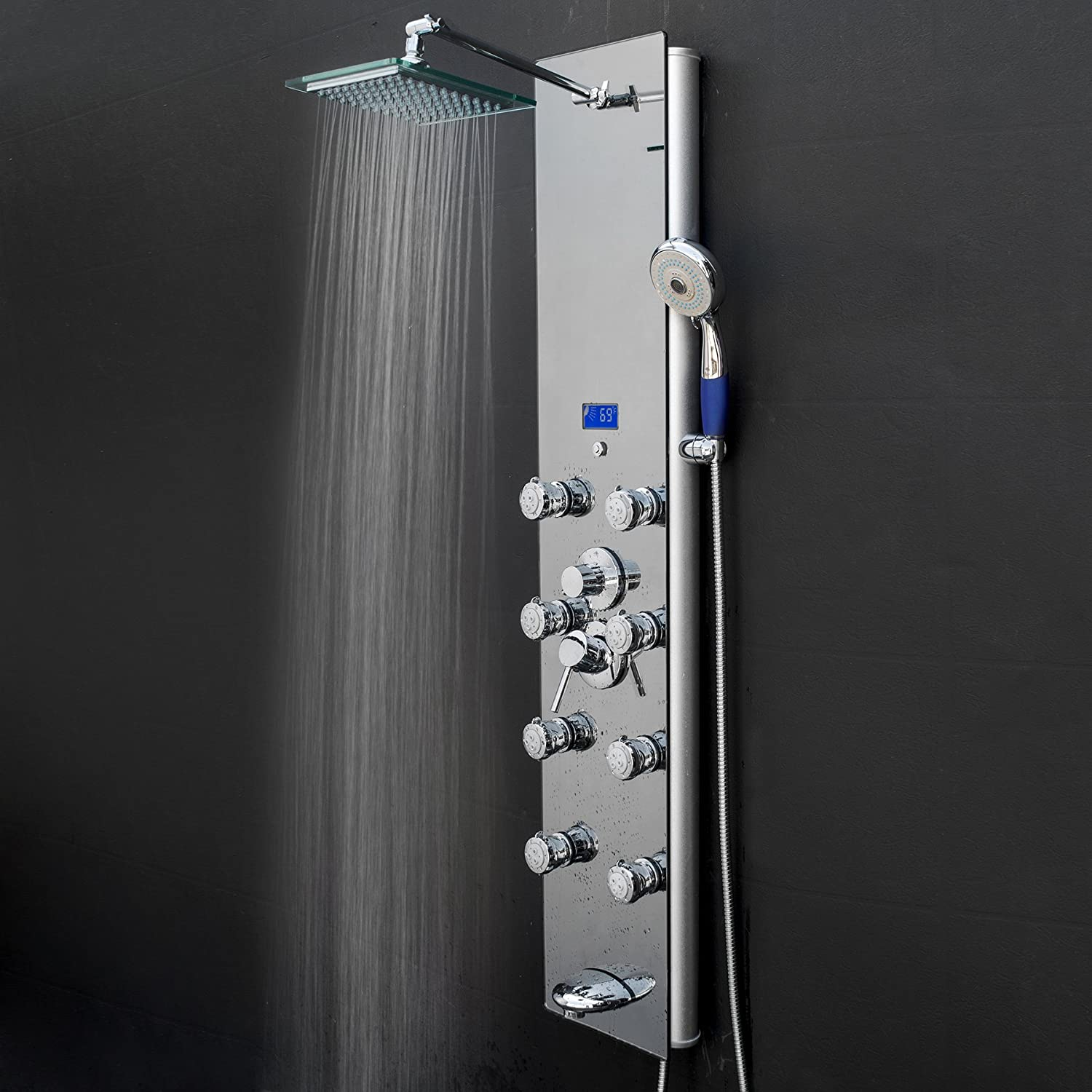 AKDY AK-787392M 52 Inch Tempered Glass Aluminum Shower Panel ...