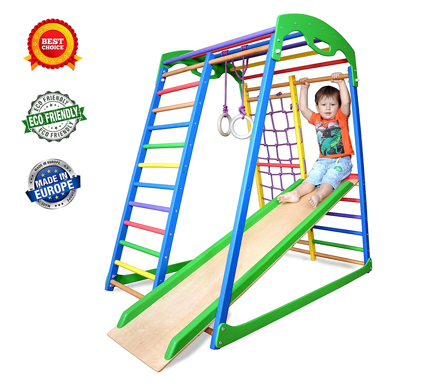 Indoor Playground  Jungle Gym  Monkey Bars  Gymnastics Rings  Backyard Playsets for Kids  Playset for Toddlers  Toddler Climber  SportWood