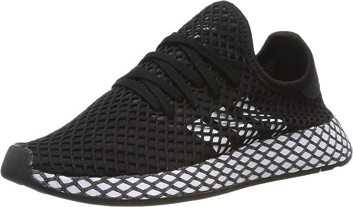 adidas Deerupt Runner Sneakers Fitnessschuhe Damen Herren Unisex Schwarz m. weißen Streifen Größe 35 1/2 bis 40