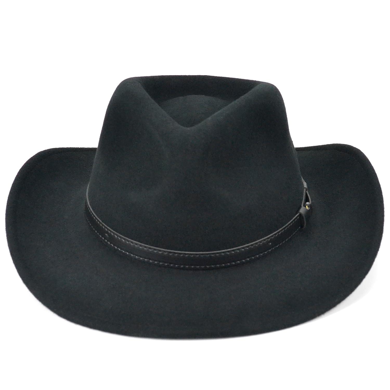 Fedora wool felt hat black waterproof with faux leather band (59cm)   Amazon.co.uk  Clothing c5cd06452890