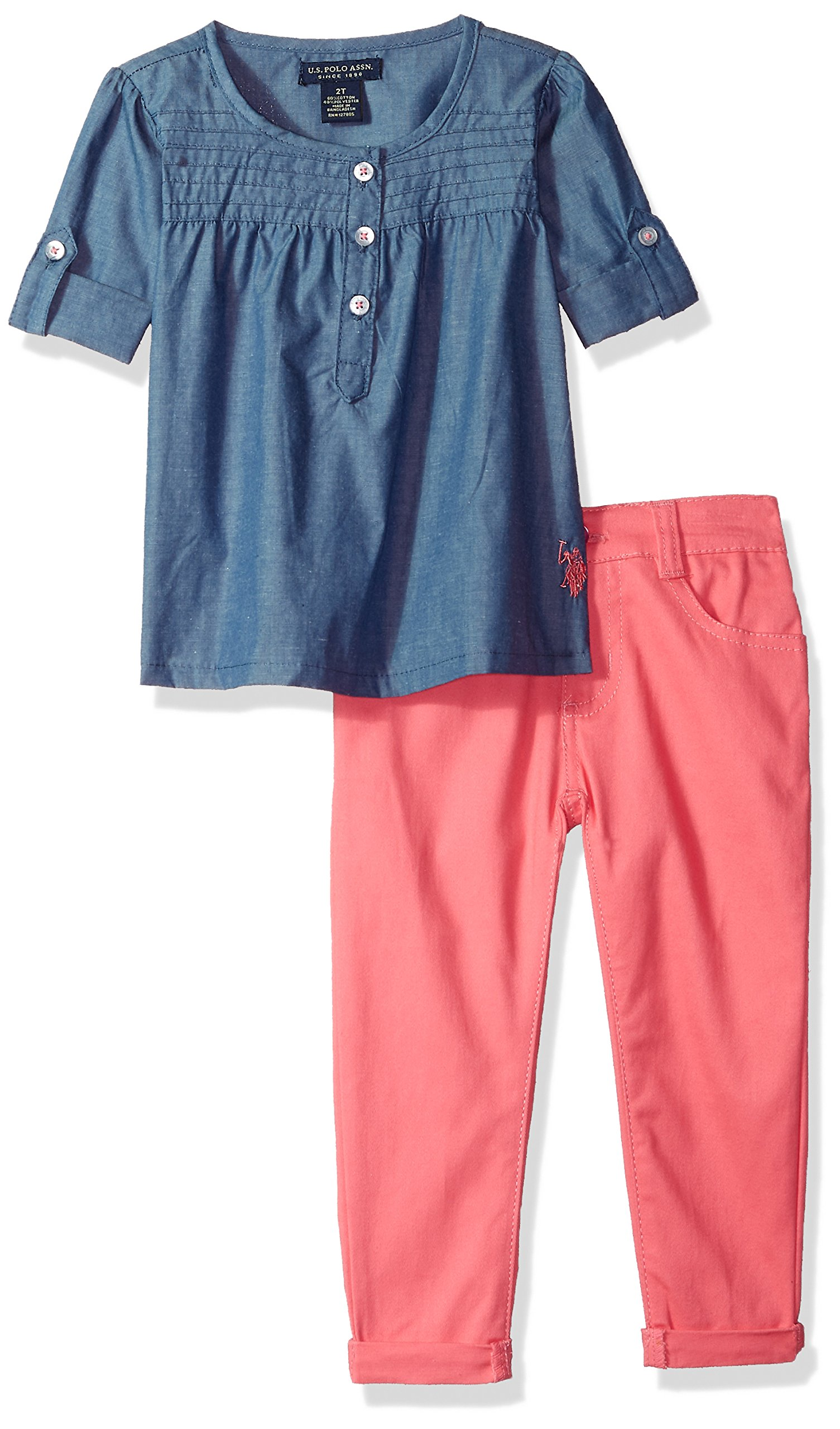 U.S. Polo Assn. Little Girls' Fashion Top and Pant Set, Babydoll Pin Tucked Pleats Twill Roll up Pant Camellia Rose, 6