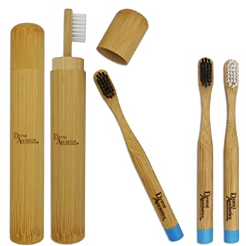 Estuche de bambú y Cepillos de dientes de bambú blanco y ...