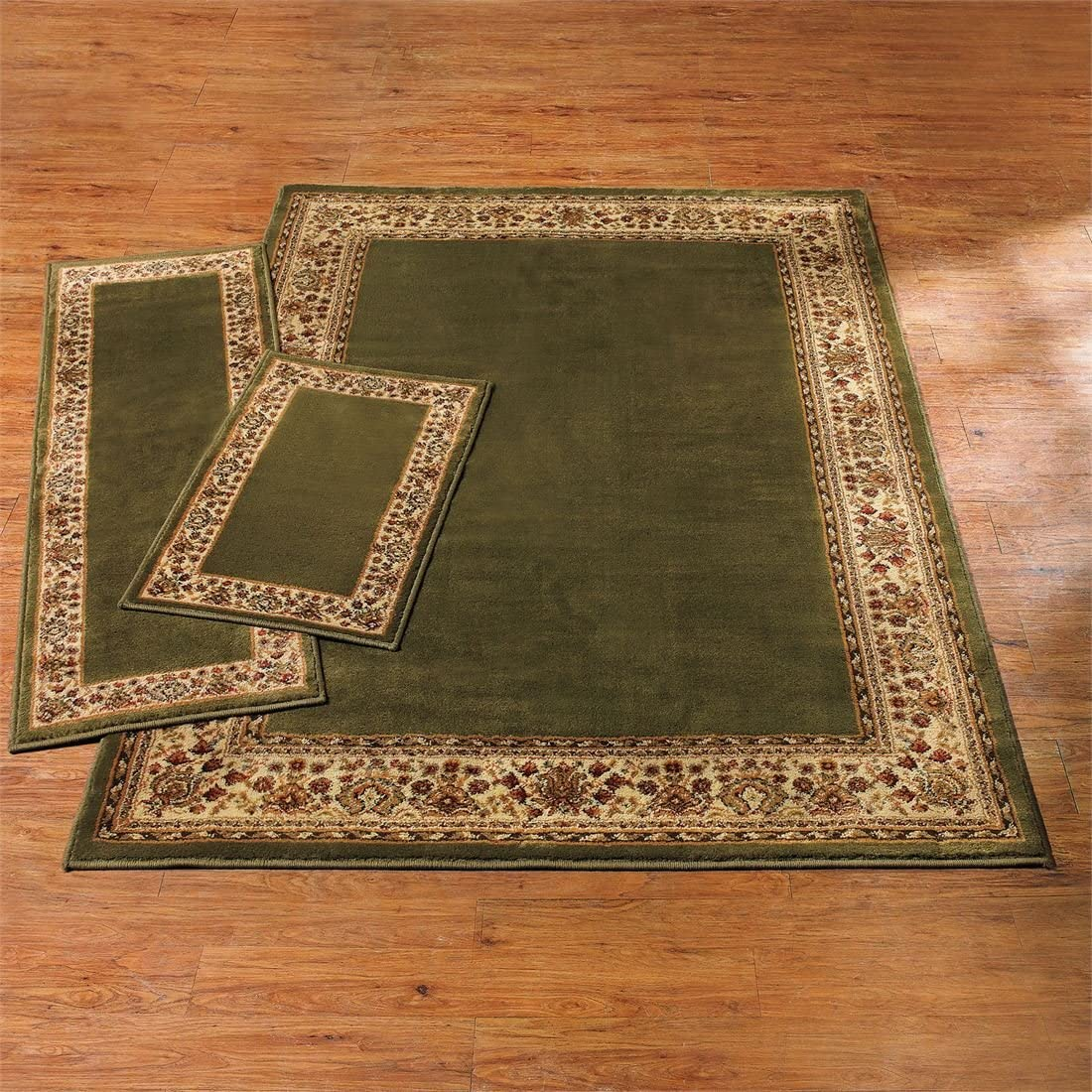 BrylaneHome Decorative 3-Pc Rug Set with Runner Gold Ivory
