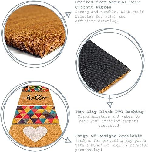 Nicola Spring Hello Design Non-Slip Coir Door Mat, 40 x 60 cm – PVC Backed Welcome Mats Doormats