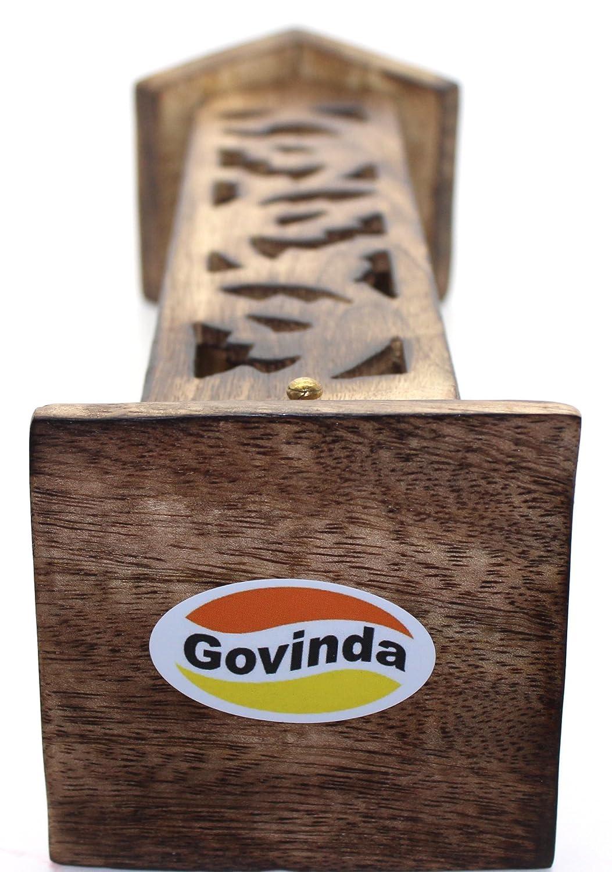 Angled Roof Top Out Ash Catcher Govinda Carved Wood Square Tower Incense Burner w//Slide
