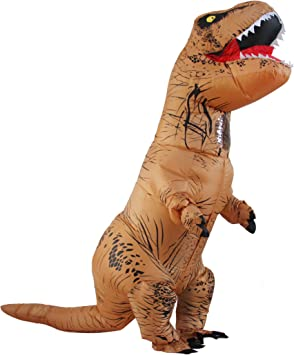 Halloween Adulto Inflable T Rex Dinosaur Partido Dinosaurio Hinchable Traje Funny Dress Brown (Puerto USB)
