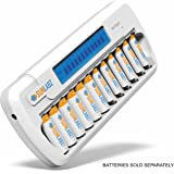 SunLabz Smart Rechargeable Battery Charger - AA AAA NiMH NiCD Batteries - 16 Bay/Slot