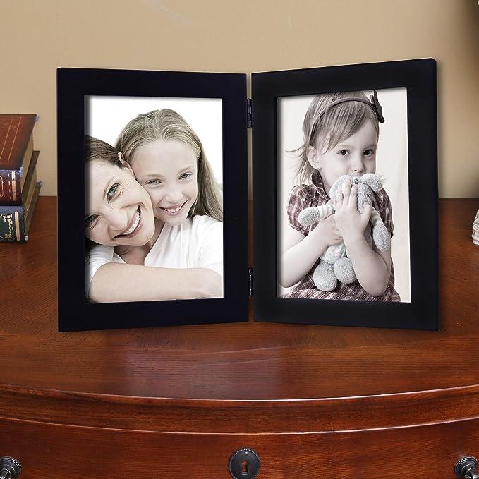 Adeco 5 x 7 negro plegable de madera Foto Marcos para dos 5 x 7 pulgadas Adeco 5 x 7 negro plegable de madera: Amazon.es: Hogar