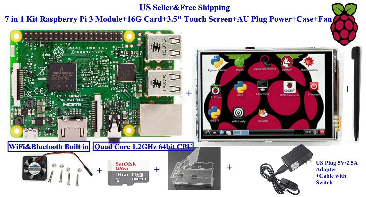7 in 1 Kit Raspberry Pi 3 Module+16G Card+3.5'' Touch Screen+US Plug Power+Case