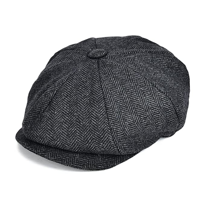 8a7f31001e3a1 VOBOOMClassic 8 Panel Wool Tweed Newsboy Gatsby Ivy Cap Golf Cabbie Driving  Hat (Tag Size