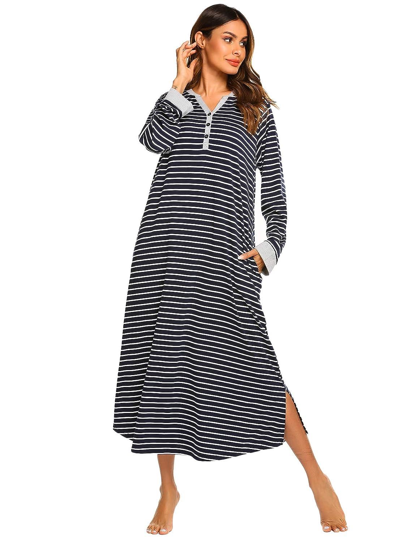Ekouaer Women/'s Striped Nightgown,Long Loungewear Nightshirt Sleepwear with Pocket EKV007146