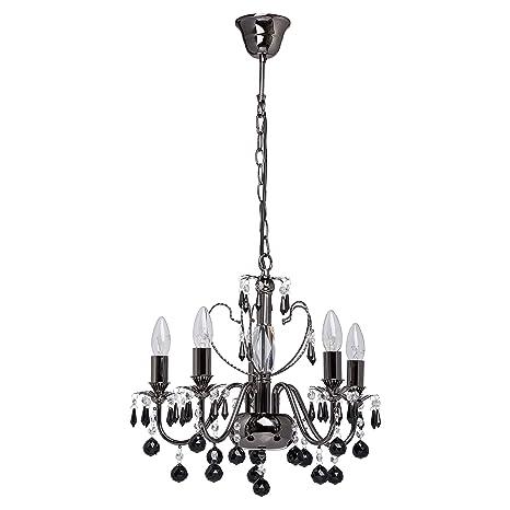 Elegante lampadario classico, con candele, in metallo nichelato ...