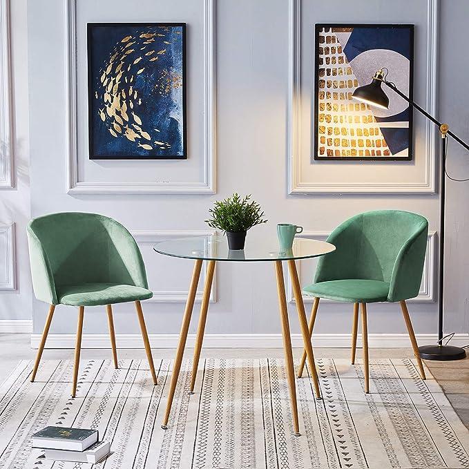 IPOTIUS Mesa de Comedor Redonda de Cristal Mesa de Cocina para 2 4 Personas,Patas de Metal,80X74cm,Transparente: Amazon.es: Hogar