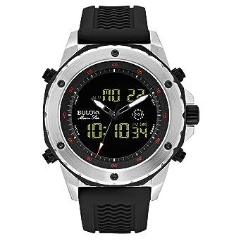 amazon com bulova men s 98c119 stainless steel watch black bulova men s 98c119 stainless steel watch black rubber band