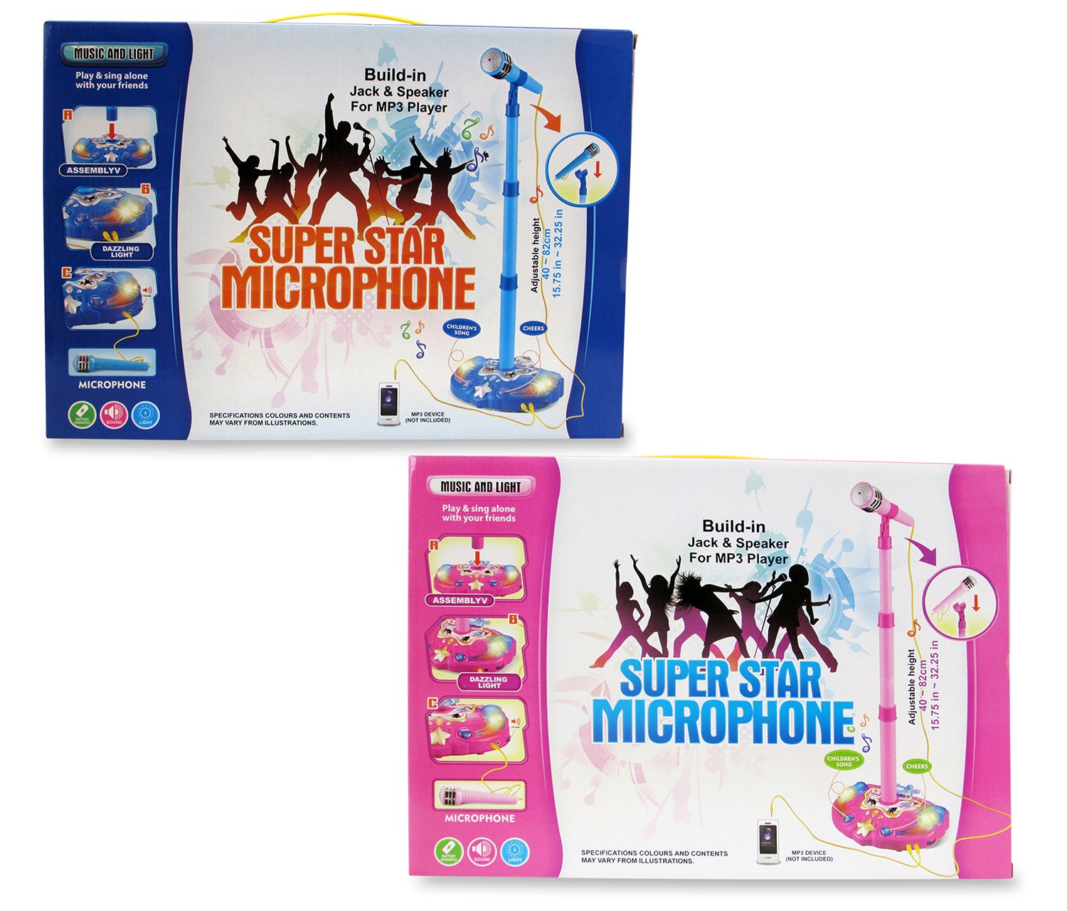 Mozlly Pink and Blue Children Karaoke Mic Set with Stand Music by Mozlly (Image #1)